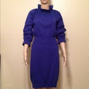 Escada blue cashmere long sleeve dress, size 36